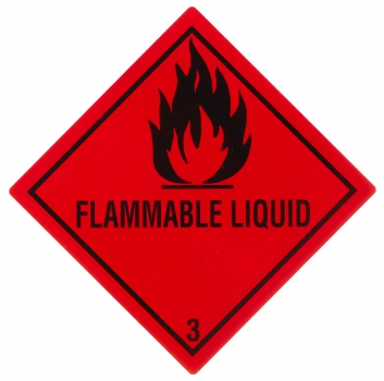 "Containerlabel Klasse 3 mit Text ""FLAMMABLE LIQUID"""
