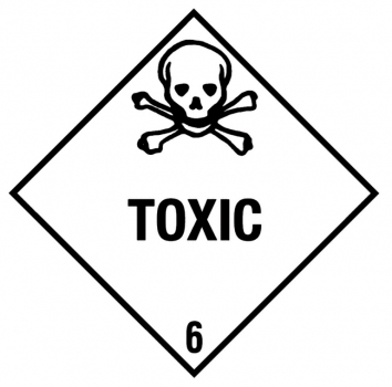 "Containerlabel Klasse 6.1 mit Texteindruck ""TOXIC"""
