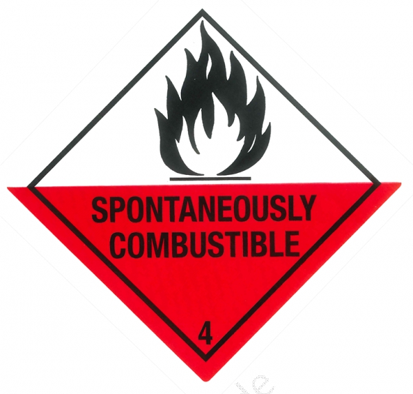 "Containerlabel Klasse 4.2 mit Text ""SPONTANEOUSLY COMBUSTIBLE"""