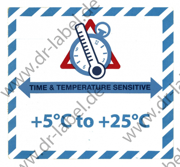 "Gefahrgutetikett ""TIME & TEMPERATURE SENSITIV"" mit Temperatureindruck ""+5°C to +25°C"""