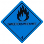 "Containerlabel Klasse 4.3 mit Text ""DANGEROUS WHEN WET"""