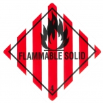"Containerlabel Klasse 4.1 mit Text ""FLAMMABLE SOLID"""