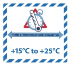 "Gefahrgutetikett ""TIME & TEMPERATURE SENSITIV"" mit Temperatureindruck ""+15°C to +25°C"