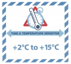 "Gefahrguteteikett ""TIME & TEMPERATURE SENSITIV"" mit Temperatureindruck ""+2°C to +15°C"""