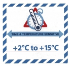 "Gefahrgutetikett ""TIME & TEMPERATURE SENSITIV"" mit Temperatureindruck ""+2°C to +15°C"""