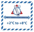 "Gefahrgutetikett ""TIME & TEMPERATURE SENSITIV"" mit Temperatureindruck ""+2°C to +8°C"""